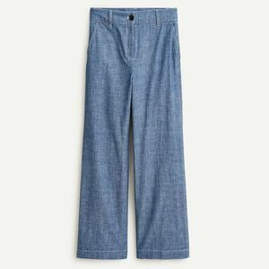 J. CREW Washed Chambray Wide Leg High Rise Pants